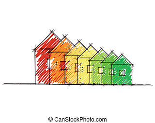 Energy efficiency rating - Hand drawn sketch of the diagram ...