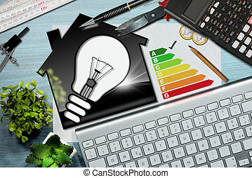 Energy Efficiency Rating - House with Light Bulb