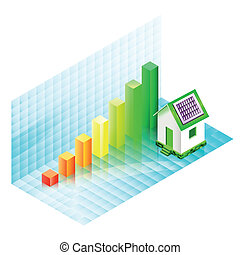 Energy efficiency rating of a house with photovoltaic panels...