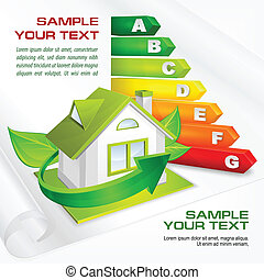 Energy efficiency rating with arrows and house & text, vector illustration