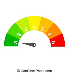 Energy efficiency rating with arrow, stock vector illustration
