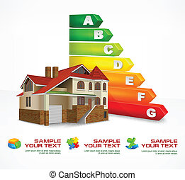 Energy efficiency rating color with big house & text, vector illustration