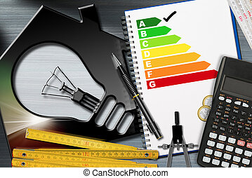 Energy Efficiency Rating with Calculator and House