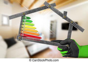 Energy Efficiency - Ruler in the Shape of House