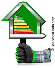 Energy Efficiency - Sign in the Shape of House