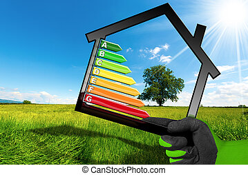 Energy Efficiency - Symbol with House Model