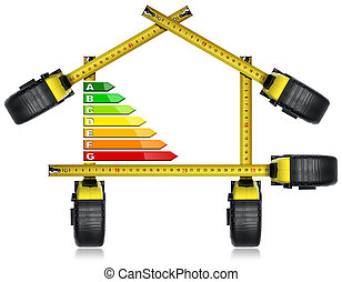Energy Efficiency - Tape Measures in the Shape of House