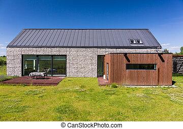 energy-efficient, casa, cubierto, con, guijas