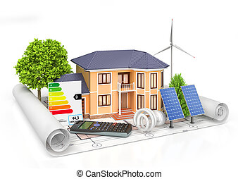 Energy efficient construction. House with calculator, solar panel, wind power plant and economical lamp on a blueprint. 3d illustration