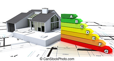 Energy efficient home construction - 3D rendering of a house...