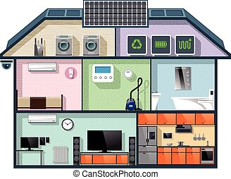 Energy efficient house cutaway image for smart home...