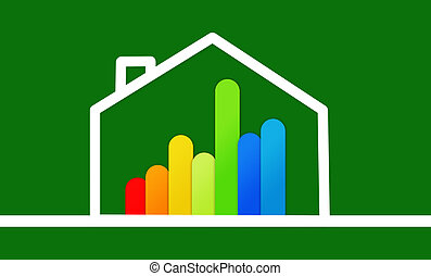 Energy efficient house graphic against a background - Energy...