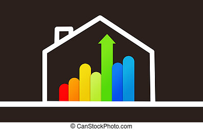 Energy efficient house graphic against a black background