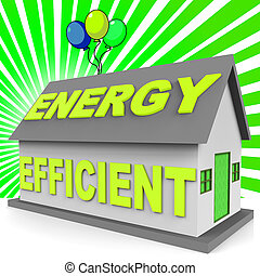 Energy Efficient House Representing Home 3d Rendering -...