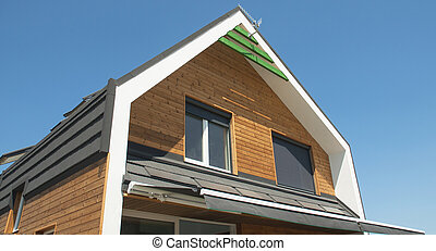 Energy efficient house, solar panel , blinds, sun protection