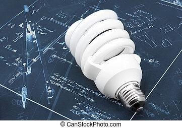 Energy efficient light bulb closeup photo