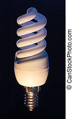 Energy efficient light bulb isolated on black