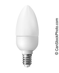 Energy efficient light bulb, isolated on white. Realistic vector illustration.