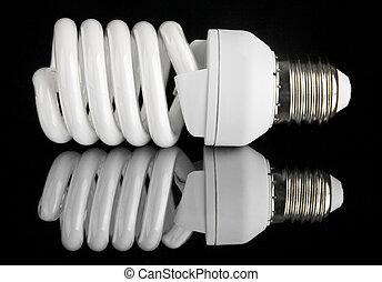 energy efficient light bulb on black background