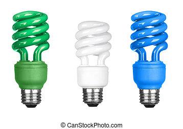 Energy efficient light bulbs on white - Three energy...