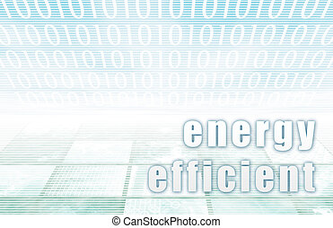 Energy Efficient on a Clear Blue Tech Background