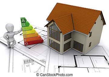Energy efficient - Person stood next to energy ratings with ...