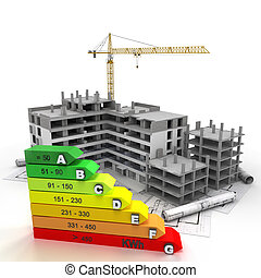 Energy efficient rated construction site - 3D rendering of a...