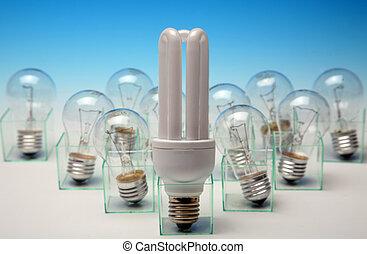Energy-efficient vs normal light bulbs