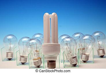 energy-efficient, vs, normal, lumière, bu