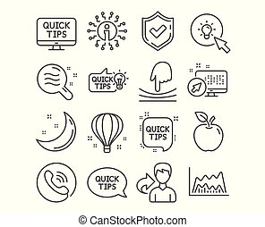 Energy, Elastic and Air balloon icons. Skin condition, Trade chart and Quick tips signs. Vector