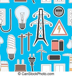 Energy, electricity, power icons in colors pattern