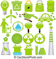 A set of Vector icons: Energy and Environmental Conservation