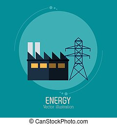 energy factory tower electricity symbol blue background