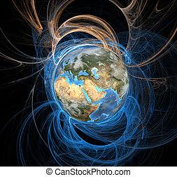 Earth emanating an aura of energy fields, Eastern Hemisphere.