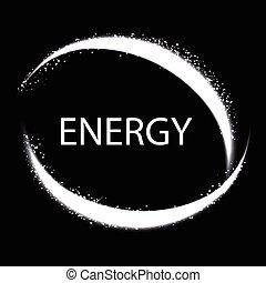 Energy frame. Shining circle banner. Magic light neon energy circle.