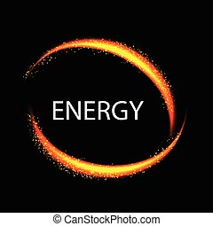 Energy frame. Shining circle banner. Magic light neon energy circle. Glitter sparkle swirl trail effect on black background. Orange color version