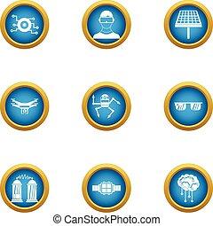 Energy game icons set, flat style