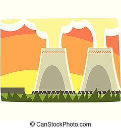 Energy generation power station, nuclear energy, horizontal vector illustration