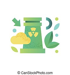 Energy generation power station, powerful nuclear reactor vector Illustration on a white background