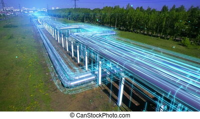 Energy goes through pipes to the city. Hot water supply. ...