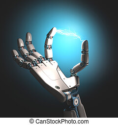 Energy Hand - Robot hand with electricity between the toes.