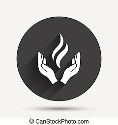 Energy hands sign icon. Power from hands symbol.
