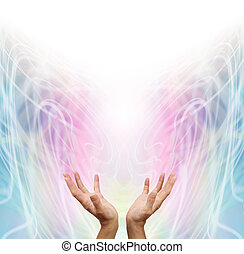 Energy Healer - Female energy worker with hands outstretched...