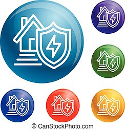 Energy house protect icons set vector