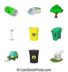 Energy icons set, cartoon style