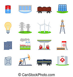 Energy and electricity icons set with battery hydroelectric plant coal wagon isolated vector illustration
