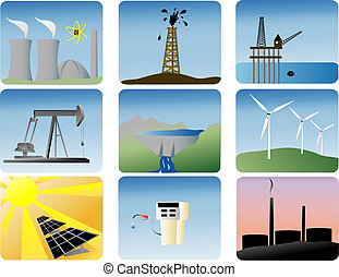 energy icons set - energy icons of various ways to produce ...