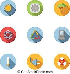 Energy icons set, flat style