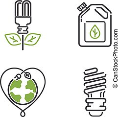 Energy icons vector set.