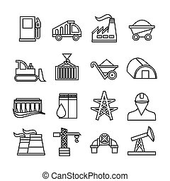 Energy industry icons set. Trendy flat style for graphic design, web-site. Stock Vector illustration.